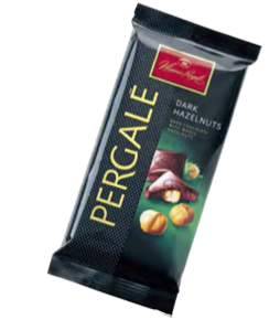 "Dark Chocolate ""PERGALĖ"" With Whole Hazelnuts 100 gr"